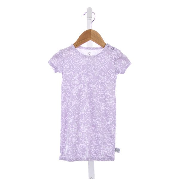 LITTLE GIRAFFE PURPLE AND WHITE DOT KNIT GOWN *SIZE 0-6 MONTHS