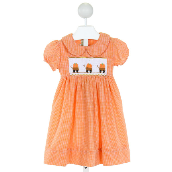 MUGUET COLLECTION  ORANGE  GINGHAM SMOCKED DRESS