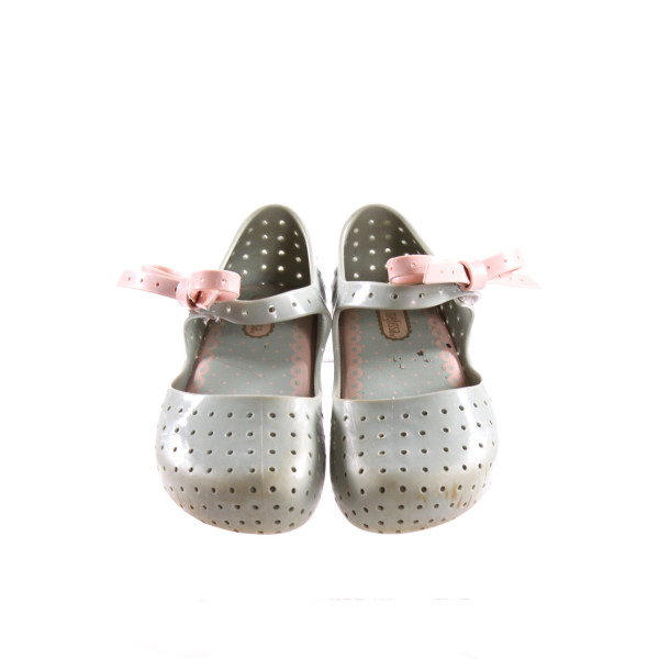 MINI MELISSA BLUE AND PINK SHOES WITH BOWS *SIZE 9, GUC - DISCOLORATION AND SCUFFING