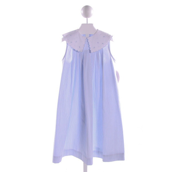SOPHIE DESS  BLUE SEERSUCKER STRIPED EMBROIDERED DRESS