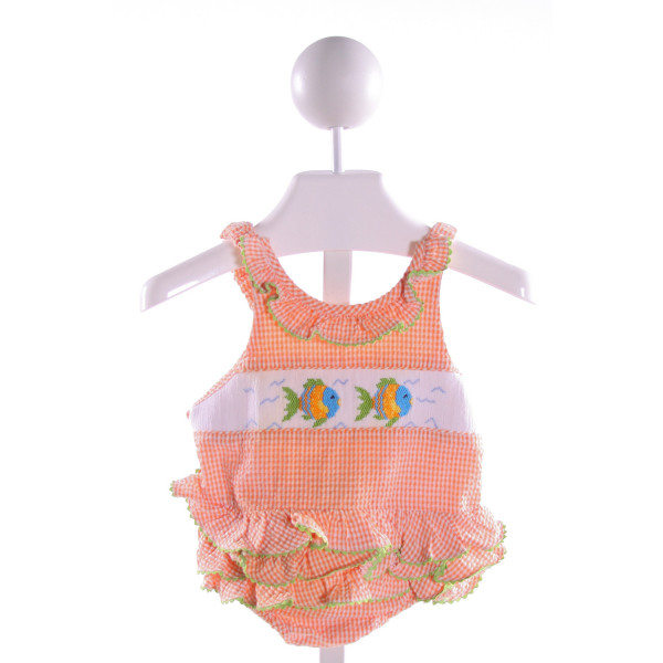 SILLY GOOSE  ORANGE SEERSUCKER GINGHAM SMOCKED 1-PIECE SWIMSUIT WITH RIC RAC