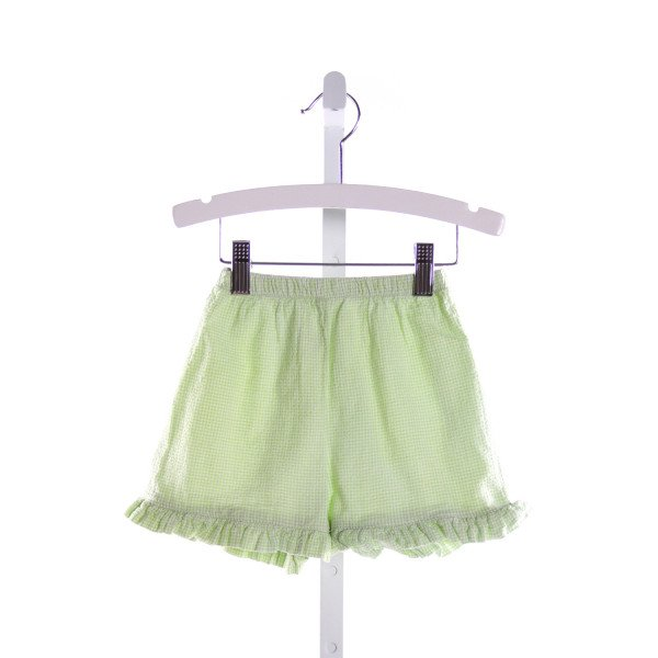 LIME GREEN  GREEN SEERSUCKER GINGHAM  PANTS WITH RUFFLE