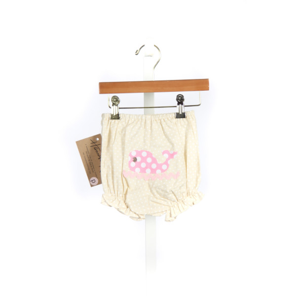 HANNAH KATE MILLER DIAPER COVER IN KHAKI/WHITE DOT WITH PINK WHITE DOT WHALE