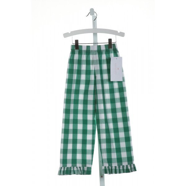 HANNAH KATE  GREEN  GINGHAM  PANTS WITH RUFFLE