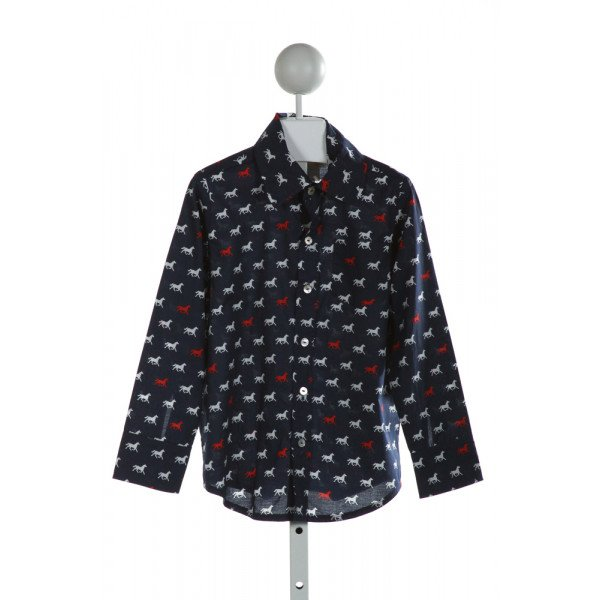 HANNAH KATE  NAVY   PRINTED DESIGN CLOTH LS SHIRT