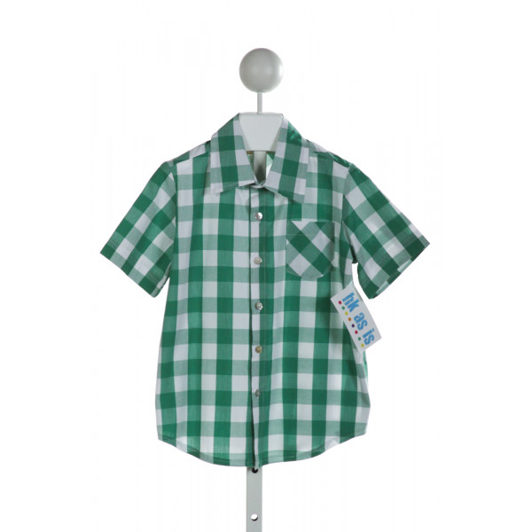 HANNAH KATE  GREEN  GINGHAM  CLOTH SS SHIRT
