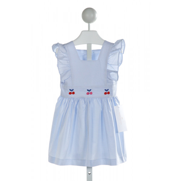 HANNAH KATE  LT BLUE   EMBROIDERED DRESS WITH RUFFLE