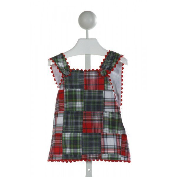 HANNAH KATE  GREEN  PLAID  CLOTH SS SHIRT WITH RIC RAC