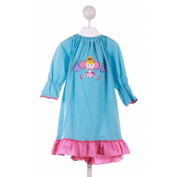 KANDYLAND KIDS  AQUA  GINGHAM APPLIQUED CASUAL DRESS