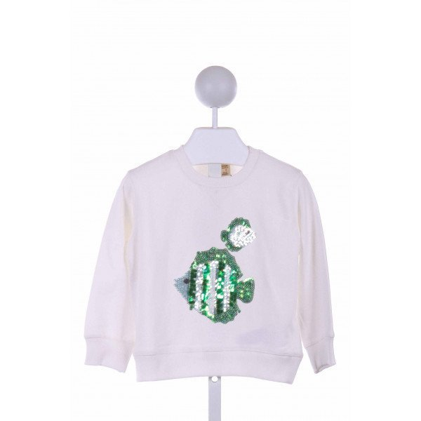 ZARA  OFF-WHITE   SEQUINED KNIT LS SHIRT