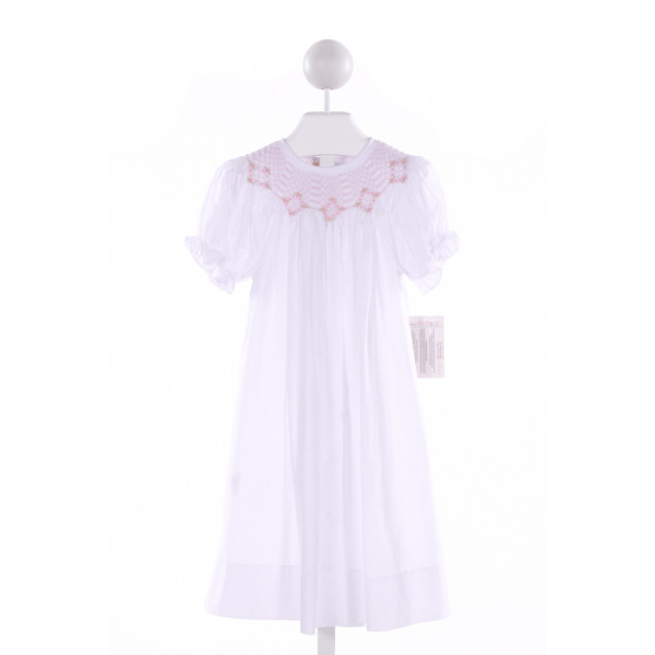 ROSALINA  WHITE   SMOCKED DRESS WITH RUFFLE