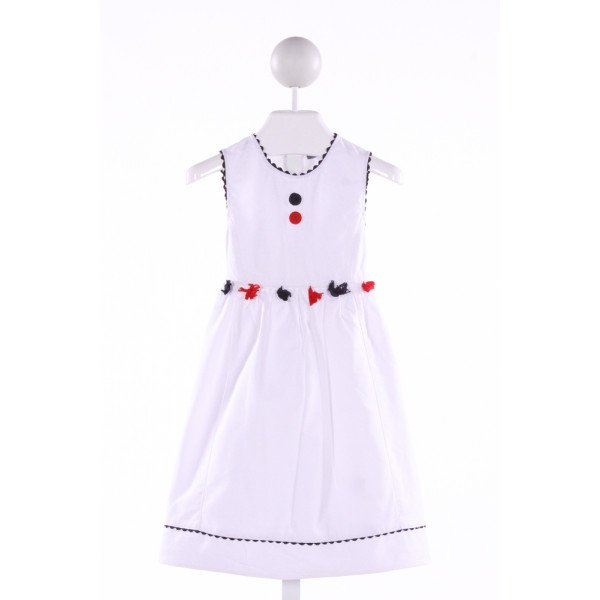 PETIT CONFECTIONS  WHITE PIQUE  APPLIQUED DRESS WITH RIC RAC