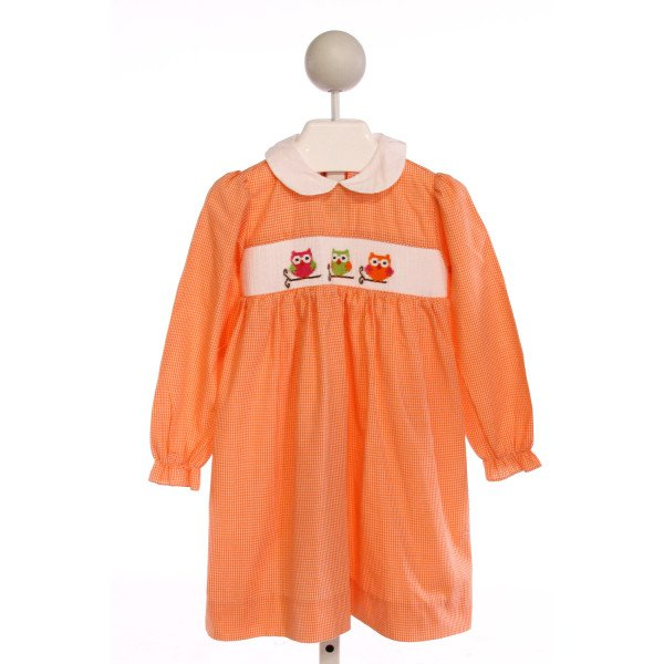 SILLY GOOSE  ORANGE  GINGHAM SMOCKED DRESS WITH RUFFLE