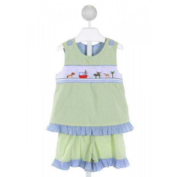 WISH UPON A STAR  LT GREEN  GINGHAM SMOCKED 2-PIECE OUTFIT WITH RUFFLE