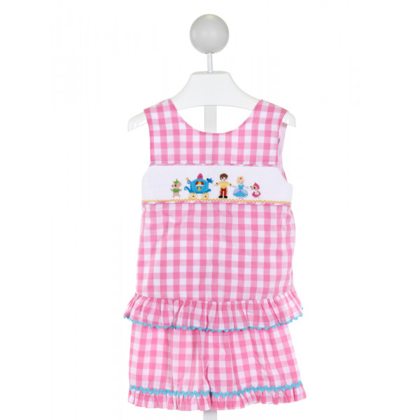 DELANEY  PINK  GINGHAM SMOCKED 2-PIECE OUTFIT WITH RIC RAC