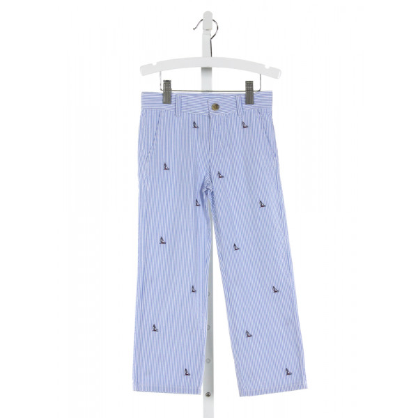 JANIE AND JACK  LT BLUE SEERSUCKER STRIPED EMBROIDERED PANTS