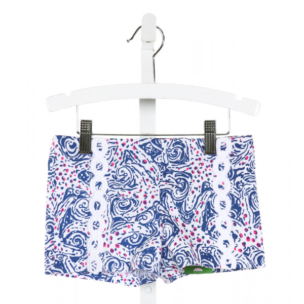 LILLY PULITZER  ROYAL BLUE  PRINT EMBROIDERED SHORTS