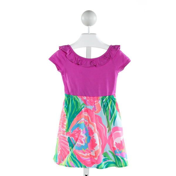 LILLY PULITZER  PURPLE   PRINTED DESIGN DRESS WITH RUFFLE
