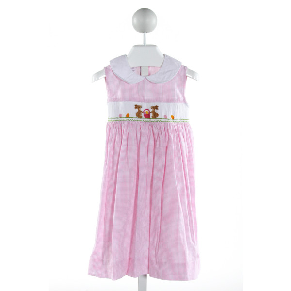 SILLY GOOSE  LT PINK  GINGHAM SMOCKED DRESS