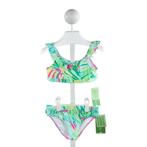 LILLY PULITZER  MULTI-COLOR   PRINTED DESIGN 2-PIECE SWIMSUIT WITH RUFFLE