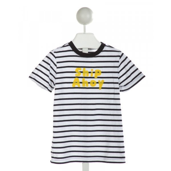 JANIE AND JACK  OFF-WHITE  STRIPED EMBROIDERED T-SHIRT