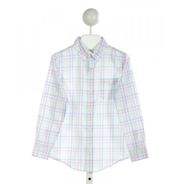 JANIE AND JACK  WHITE  PLAID  CLOTH LS SHIRT