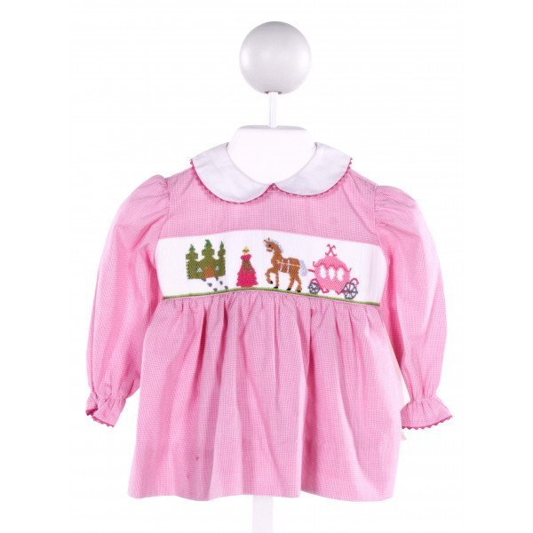 SILLY GOOSE  PINK  MICROCHECK SMOCKED DRESS WITH RIC RAC