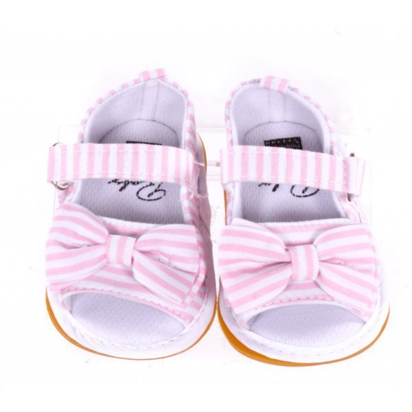 WONBO PINK STRIPED BABY SHOES *SIZE 0-6 MONTHS = APPROX 2, VGU - SOME VERY MINOR DISCOLORATION