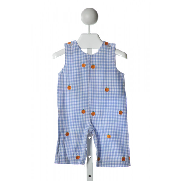 FUNTASIA TOO  LT BLUE  GINGHAM EMBROIDERED LONGALL/ROMPER