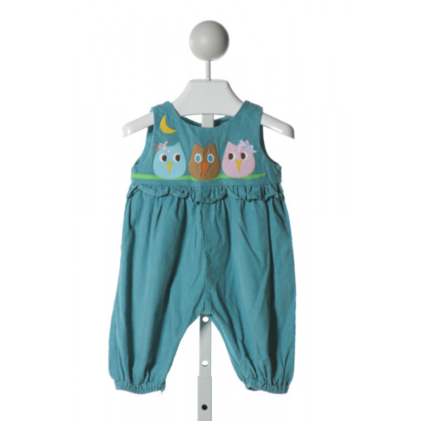 FUNTASIA TOO  BLUE CORDUROY  EMBROIDERED ROMPER WITH RUFFLE