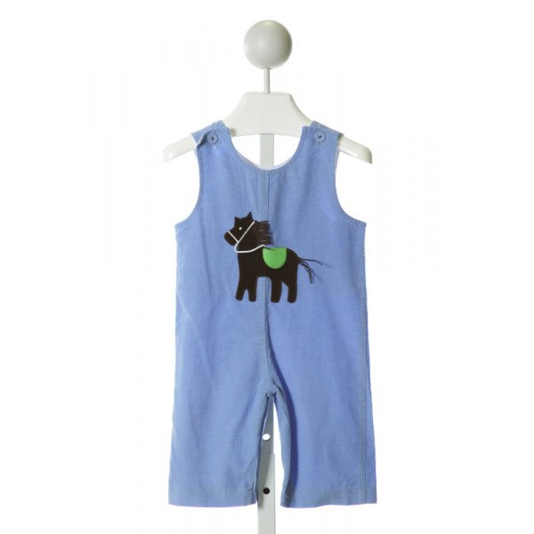 FUNTASIA TOO  BLUE CORDUROY  EMBROIDERED LONGALL/ROMPER