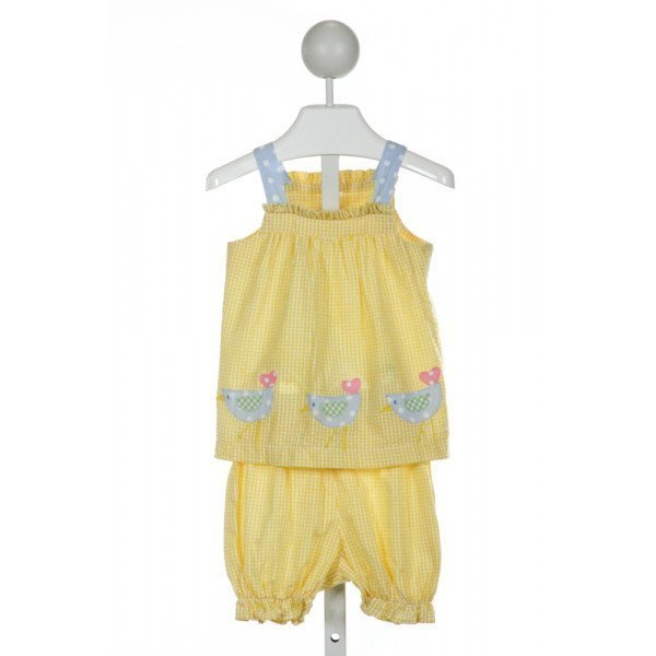 FUNTASIA TOO  YELLOW SEERSUCKER GINGHAM EMBROIDERED 2-PIECE OUTFIT WITH RUFFLE