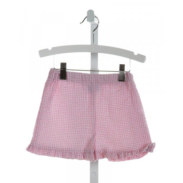 FUNTASIA TOO  PINK SEERSUCKER GINGHAM  SHORTS WITH RUFFLE