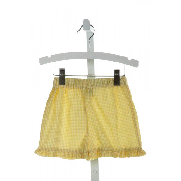 FUNTASIA TOO  YELLOW SEERSUCKER GINGHAM  SHORTS WITH RUFFLE