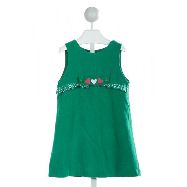 FUNTASIA TOO  GREEN CORDUROY  EMBROIDERED DRESS WITH RUFFLE