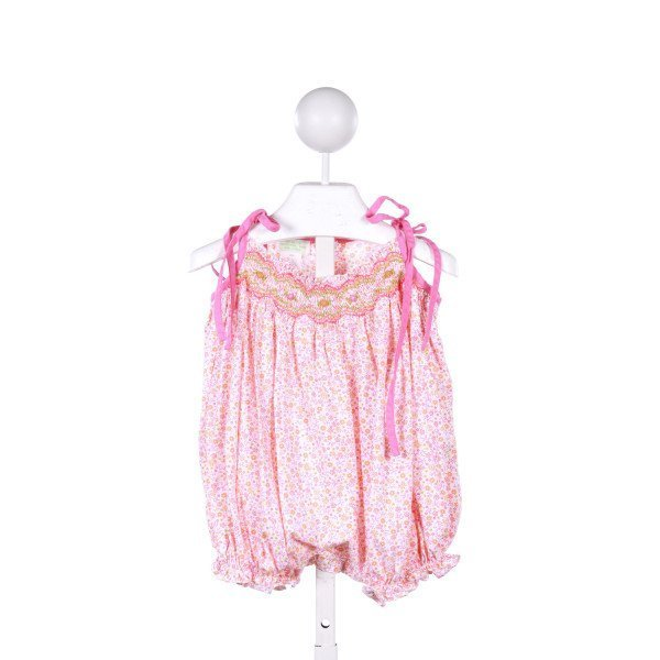 COLLECTION BEBE  PINK  FLORAL SMOCKED BUBBLE