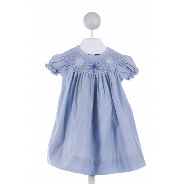 LINEY LU  LT BLUE CORDUROY  SMOCKED DRESS