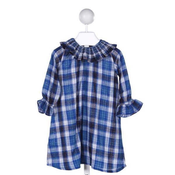 EMILY LACEY  BLUE  PLAID SMOCKED DRESS WITH RUFFLE