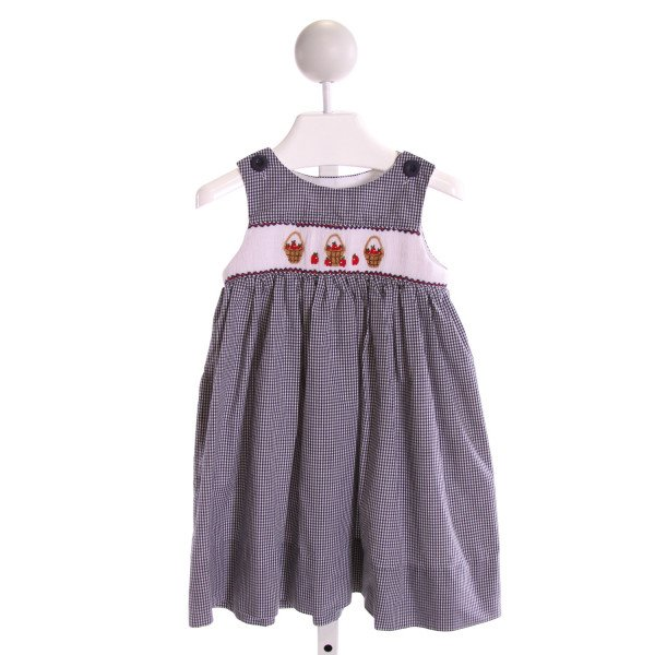 KELLY'S KIDS  NAVY  GINGHAM SMOCKED DRESS