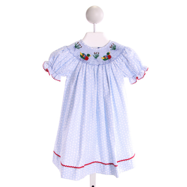 SILLY GOOSE  LT BLUE  POLKA DOT SMOCKED DRESS WITH RIC RAC