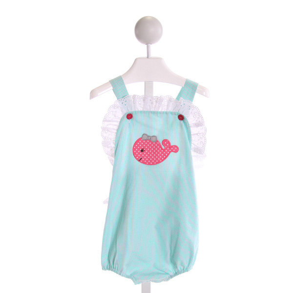 STELLYBELLY  AQUA  GINGHAM EMBROIDERED BUBBLE WITH EYELET TRIM
