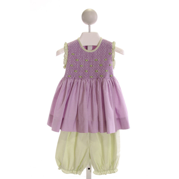 ROYAL CHILD  PURPLE SEERSUCKER GINGHAM SMOCKED 2-PIECE OUTFIT WITH RUFFLE