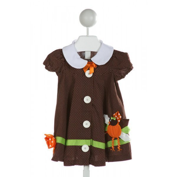 BONNIE JEAN  BROWN  POLKA DOT APPLIQUED DRESS
