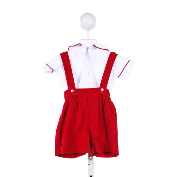 THE TRAVELIN TRUNK RED CORDUROY SHORTALL WITH MATCHING WHITE SHIRT