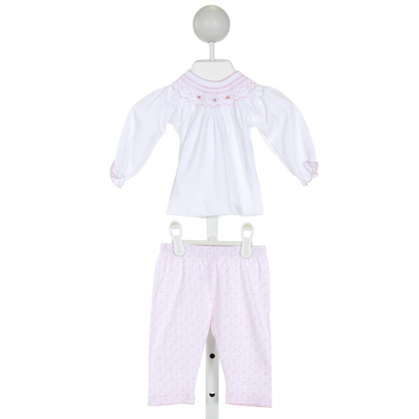 MAGNOLIA BABY  WHITE   SMOCKED 2-PIECE OUTFIT WITH PICOT STITCHING