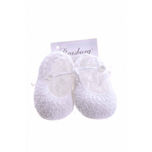STRASBURG WHITE CROCHET BABY BOOTIES INFANT SIZE 0 *NWT