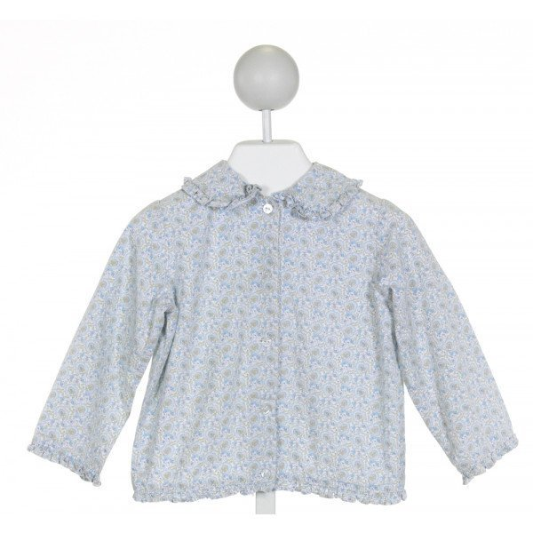 KATE & LIBBY  BLUE  FLORAL  CLOTH LS SHIRT WITH RUFFLE