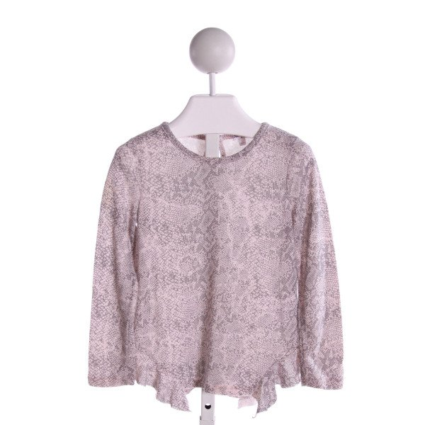 SPLENDID  GRAY   PRINTED DESIGN KNIT LS SHIRT WITH RUFFLE