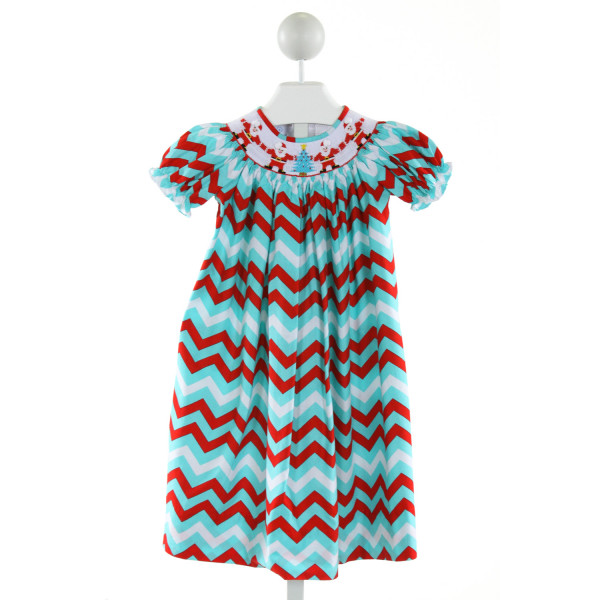 CUKEES  AQUA  CHEVRON SMOCKED DRESS WITH RUFFLE
