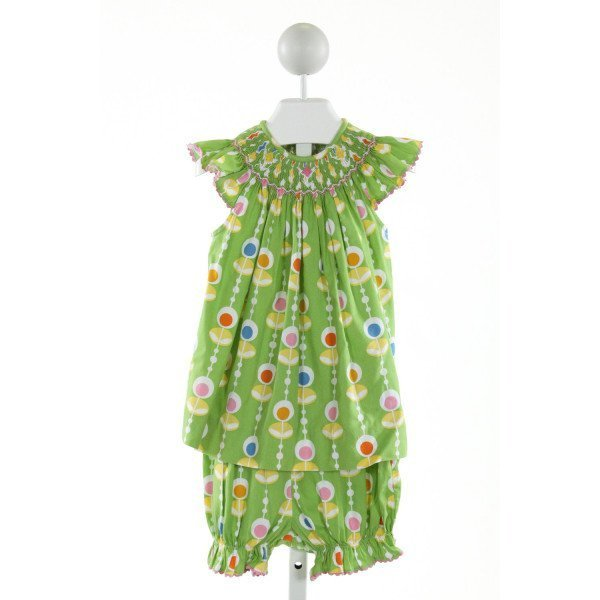 AMANDA REMEMBERED  LT GREEN  PRINT SMOCKED 2-PIECE OUTFIT WITH RIC RAC